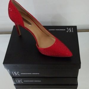 INC red sparkle heels size 10.5 new